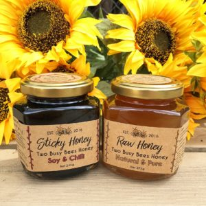 Honey soy chilli dressing and pure raw honey – Two glass jar set