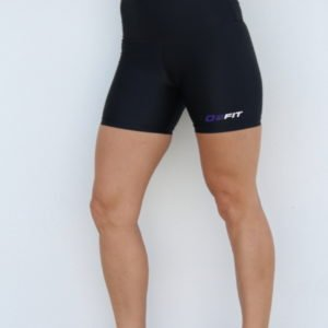 WOMEN'S HIGH WAIST BLACK WITH PURPLE COMPRESSION SHORTS