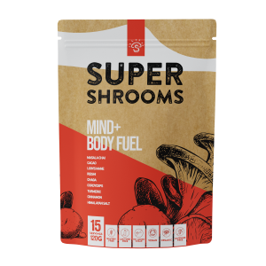 Mushroom supplements Super shrooms Mind + Body Fuel with Lions Mane, Reishi, Chaga, Coryceps supplements buy online at Yo Life